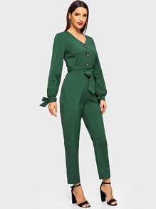 Solid Self Tie V-neck Jumpsuit