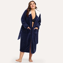 Plus Letter Embroidered Plush Hooded Robe
