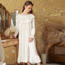 Lace Trim Ruffle Hem Night Dress