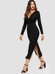 V-neckline Split Side Slub Knit Dress