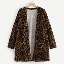 Cheetah Print Open Front Teddy Coat