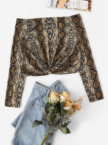 Snake Print Off Shoulder Crop Tee