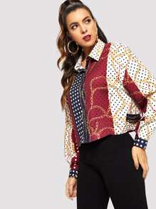 Polka Dot Print Drop Shoulder Shirt
