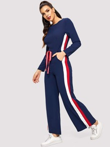 Tape Detail Knot-front Wide Leg Jumpsuit
