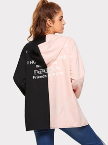 Roll Up Sleeve Letter Print Hooded Outerwear