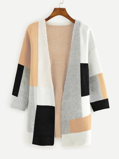 7213f964dac Colorblock Open Front Sweater Cardigan