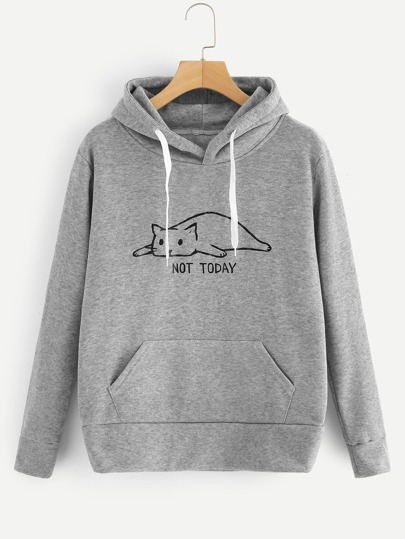 Cat And Letter Print Hooded Sweatshirt