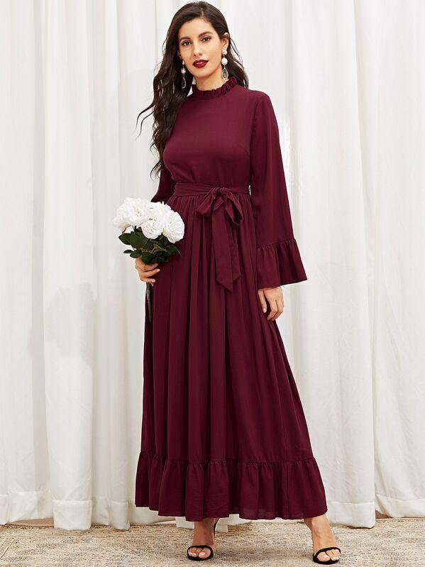 Mock Neck Ruffle Hijab Dress