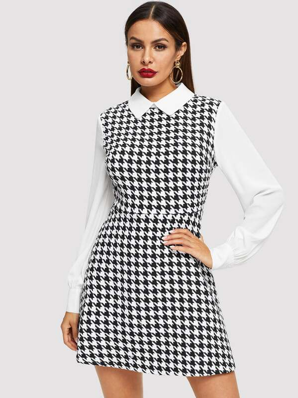 c4ce206ff09e Cheap Contrast Collar and Sleeve Houndstooth Dress for sale ...