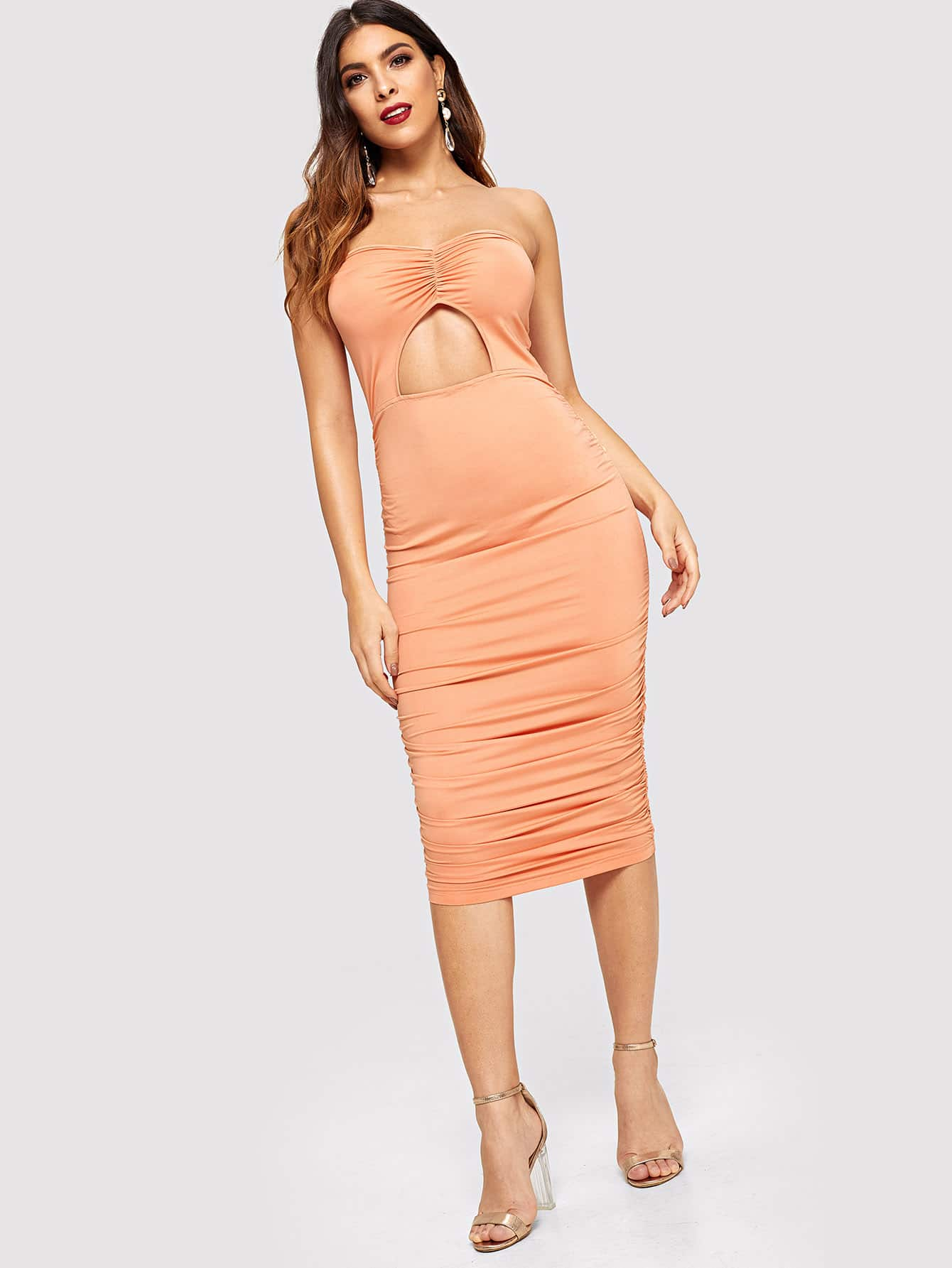 cbd536bb2d Open Front Ruched Bodycon Tube Dress