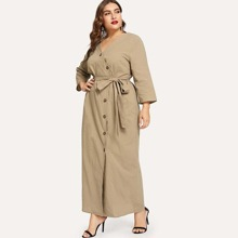 Plus Asymmetric Placket Belted Dress