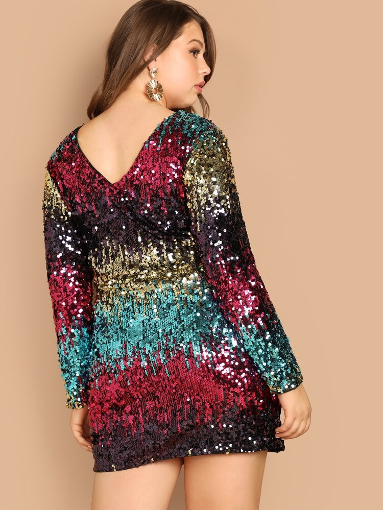 Plus Cut-and-sew Sequin Dress | SHEIN