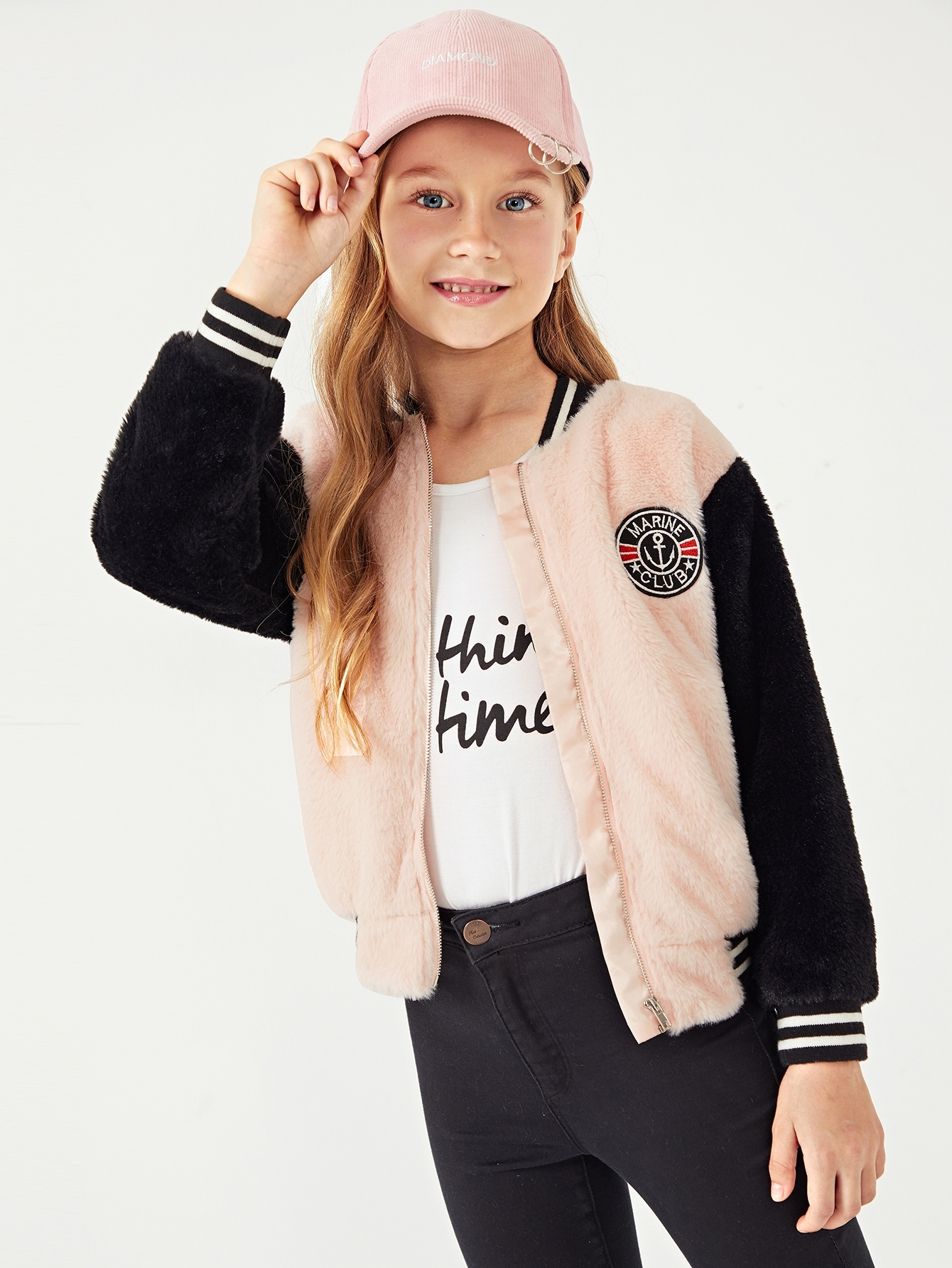 Girls Patched Detail Teddy Jacket Girls Patched Detail Teddy Jacket