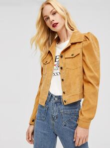 Flap Pocket Front Puff Sleeve Corduroy Jacket