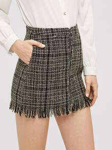 Zip Front Frayed Tweed Skirt