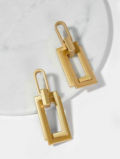 Link Open Rectangle Drop Earrings 1pair
