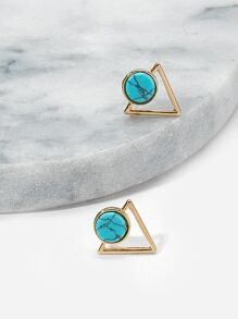 Turquoise Detail Triangle Stud Earrings 1pair