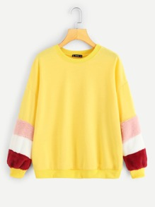 Color Block Fleece Sleeve Sweatshirt
