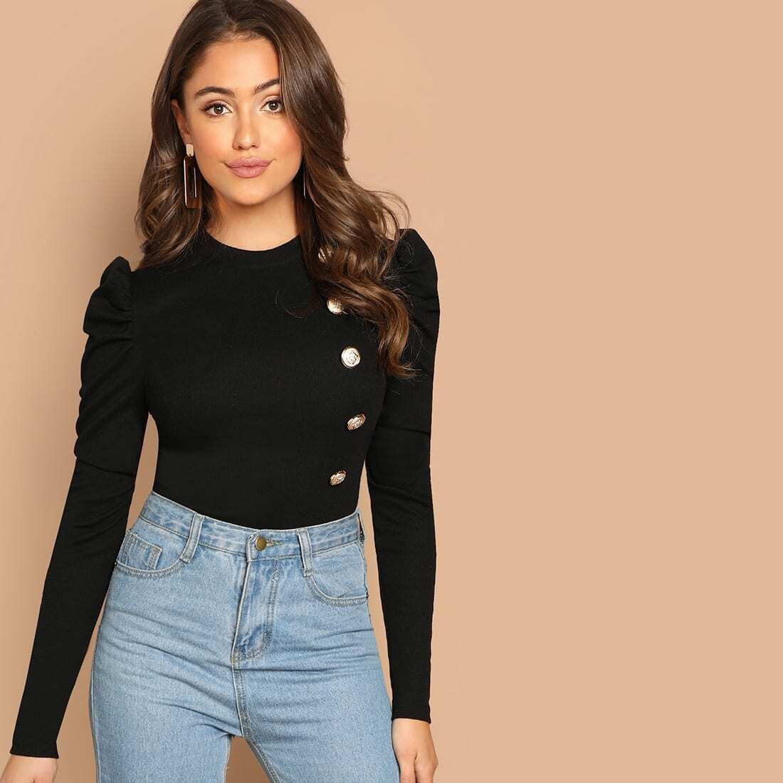 SHEIN coupon: Button Front Puff Sleeve Tee