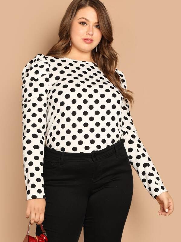 efd4a687db9794 Plus Puff Sleeve Polka Dot Top