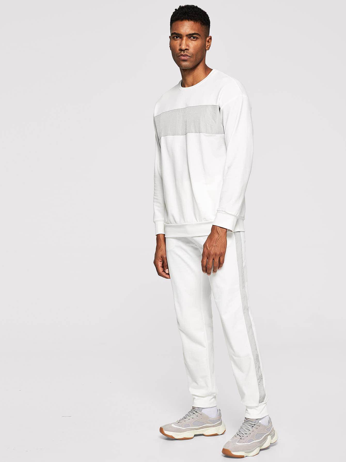 Men Mock-neck Pullover & Pants Set Men Mock-neck Pullover & Pants Set