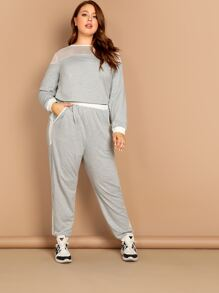 Plus Sheer Mesh Insert Pullover and Sweatpants Set