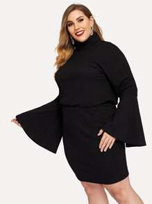 Plus Turtle Neck Bell Sleeve Pullover and Skirt Set