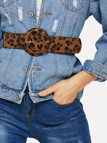 Leopard Round Buckle Belt