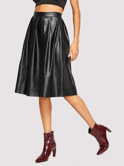 Faux Leather Zip Side Pleated Detail Skirt