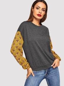 Drop Shoulder Contrast Sleeve Pullover