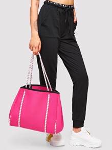 Neon Pink Laser-cutting Tote Bag