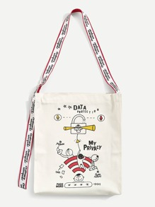 Cartoon Pattern Canvas Tote Bag