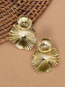 Double Tiered Floral Gold Tone Stud Back Earrings