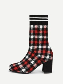 Houndstooth Pattern Block Heeled Boots