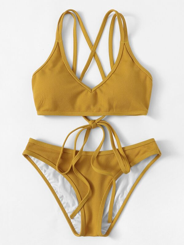 8e16e1f79c32b Criss Cross Top With Ribbed Bikini Set | SHEIN