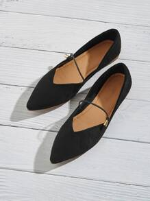 Plain Pointed Toe Slip On Flats