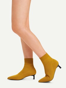 Plain Pointed Toe Socks Boots