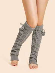 Cable Knit Leg Warmer Socks