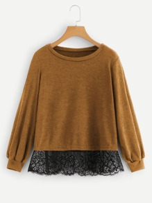 Contrast Lace Puff Sleeve Jumper