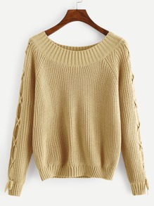 Raglan Sleeve Lace Up Jumper