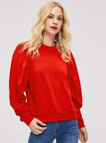 Puff Sleeve Solid Pullover