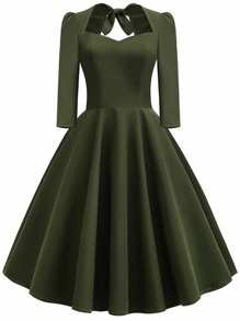 50s Bow Tie Back Flare Dress