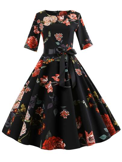 50s Ribbon Tie Floral Print Flare Dress