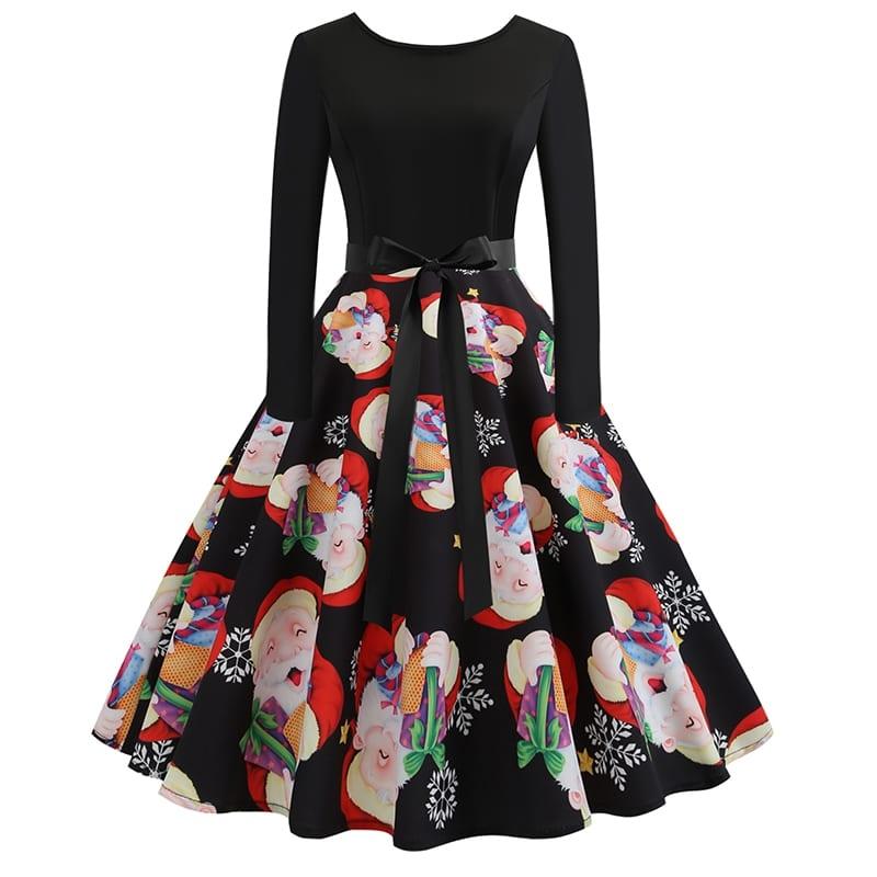 50s платье-клёш с поясом и принтом рождественским