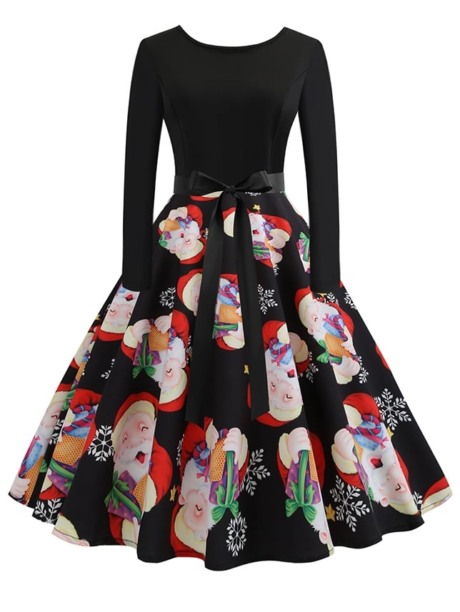 50s Self Tie Christmas Print Flare Dress 50s Self Tie Christmas Print Flare Dress