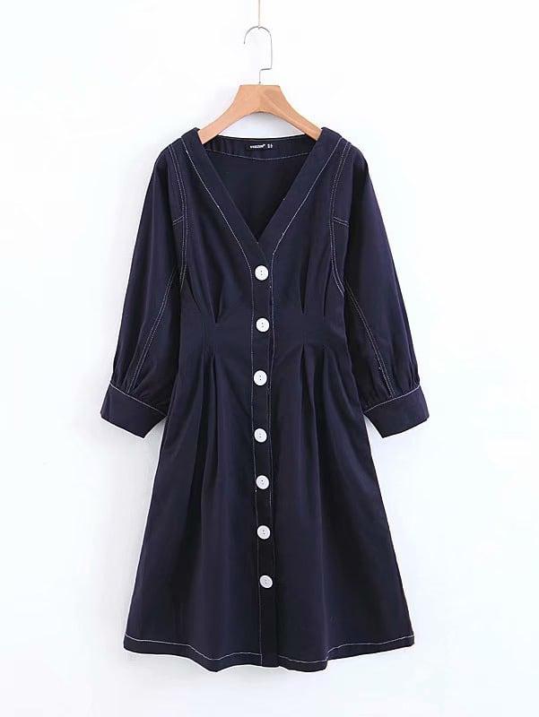 Button Through Contrast Stitching Dress Button Through Contrast Stitching Dress