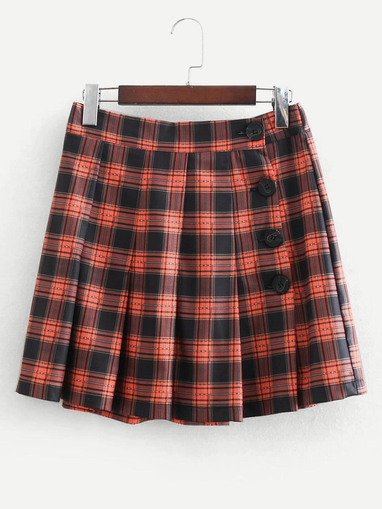 Button Detail Plaid Pleated Skirt Button Detail Plaid Pleated Skirt