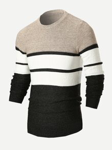 Men Cut And Sew Panel Striped Jumper