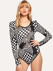 Checkerboard Chain Print Bodysuit