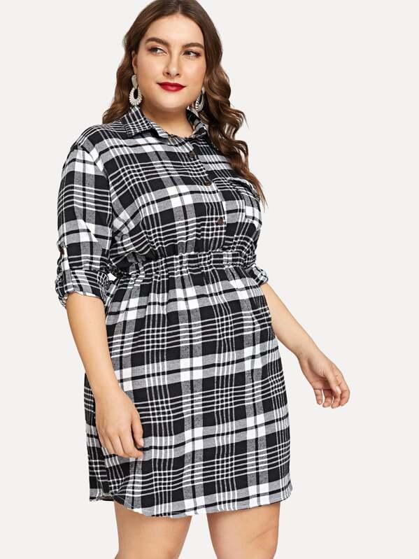 Plus Button Front Plaid Shirt Dress | SHEIN